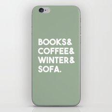 Books, coffee, winter, sofa iPhone & iPod Skin