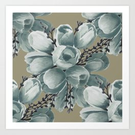 Spring Tulips Neutral  Art Print