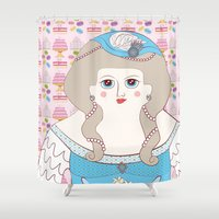 marie antoinette Shower Curtains featuring Marie Antoinette by Late Greats by Chen Reichert
