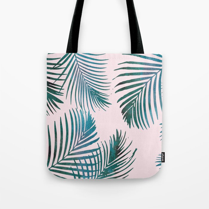 Green Palm Leaves on Light Pink Tote Bag