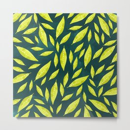 Neon green dotted leaves Metal Print