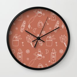 Not So Witchy Pattern Brown Wall Clock