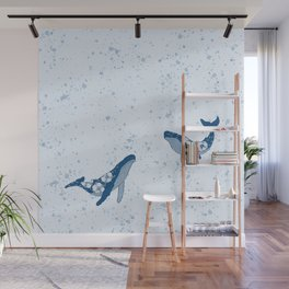 Humpback Whales in Blue Wall Mural
