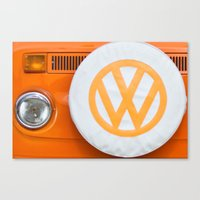 volkswagen Canvas Prints featuring Volkswagen Orange by Alice Gosling