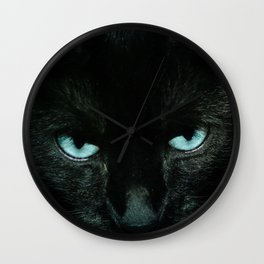 Black Cat in Turquoise - My Familiar Wall Clock