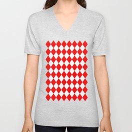 Rhombus (Red/White) Unisex V-Neck