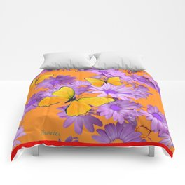 Red-Orange Yellow Butterflies Lilac Color Purple Daisies Comforters