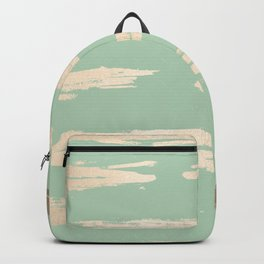 Simply Brushed Stripe White Gold Sands on Pastel Cactus Green Backpack