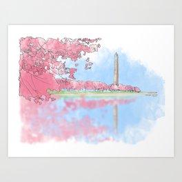 Cherry Blossom - Washington Monument Art Print