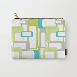 Mid-Century Modern Rectangle Design Blue Green and Gray Carry-All Pouch