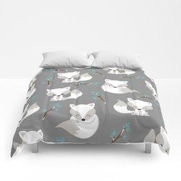 ARCTIC FOXES ON GREY Comforters