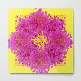 Massed Fuchsia Pink Chrysanthemums Wreath Yellow Art Metal Print