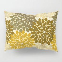 Golden Petals Pattern Pillow Sham