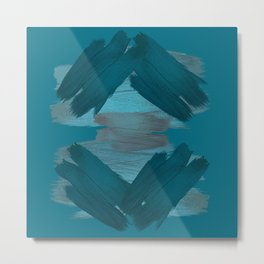 Home Again - Abstract Teal Painting Metal Print