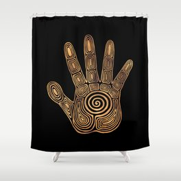 Spiral Hand Print - Gold and Black Shower Curtain