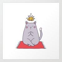 Yoga cat Art Print