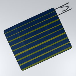Slate Blue and Antique Green Gold Stripes Picnic Blanket