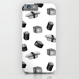 Sushi pattern. Hand-drawn japanese food sushi and rolls on a white background iPhone Case