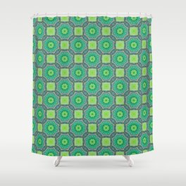 Octagon Kaleidoscope Flower In Green Turquoise And Gray Shower Curtain