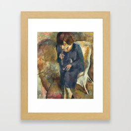 Jules Pascin - Hermine with Cigarette Holder - Hermine au Fume-Cigarette Framed Art Print