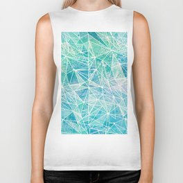 aquamarine with white geometry space Biker Tank