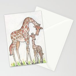 Giraffe and Her Calf Stationery Cards
