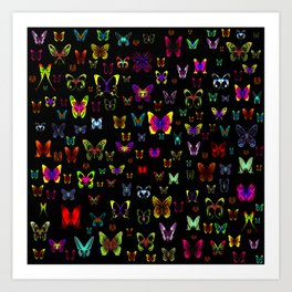 Numerous colorful butterflies on a neutral background Art Print