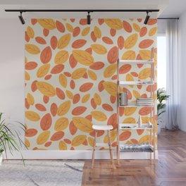 Lovely autumn leaves pattern illustration Wall Mural