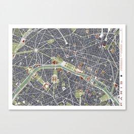 Paris city map engraving Canvas Print