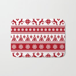 Christmas Holiday Nordic Pattern Cozy Bath Mat