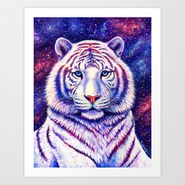 Among the Stars Colorful Cosmic White Tiger Art Print