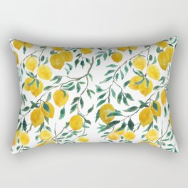 watercoor yellow lemon pattern Rectangular Pillow