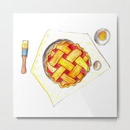 Kitchen worktop top view with utensils, open cookbook and cherry pie preparation Metal Print