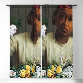 Classical Masterpiece  Young Woman with Peonies by Frederic Bazille Blackout Curtain