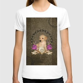 Little cute puppy with flowers T-shirt