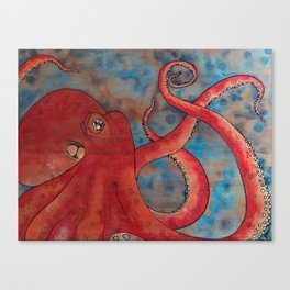 """""""Oscar The Octopus"""" 1/3 - Hand Painted on Wood Canvas Print"""