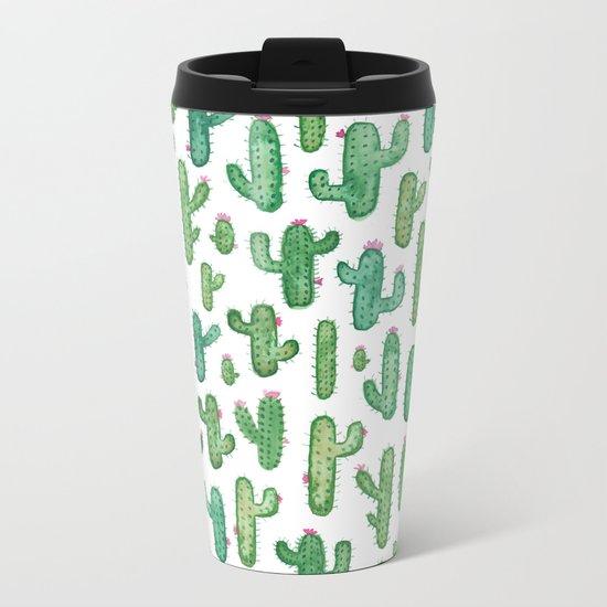 Cactus Pattern. Metal Travel Mug