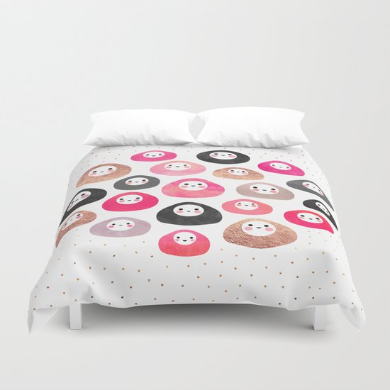 A bunch of happy blobs Duvet Cover