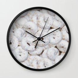 Mini Powdered Sugar Donuts Photo Pattern Wall Clock