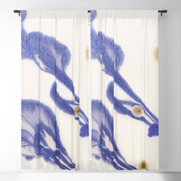 fluid flowers blue and gold Blackout Curtain