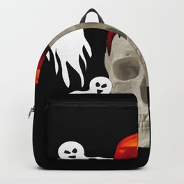 Halloween Skull with candle and ghost monsters Backpack