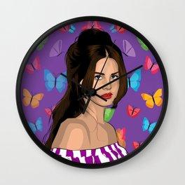 Lana And Butterflies Wall Clock