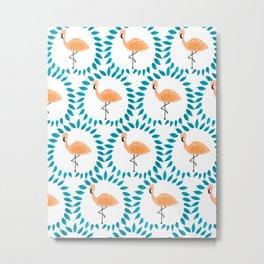 Flamingo and Leaves Metal Print