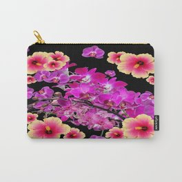 Black Design Tropical Purple Orchids Hibiscus Art Carry-All Pouch