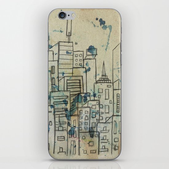 Sketch of buildings in a city that doesn't exist iPhone Skin