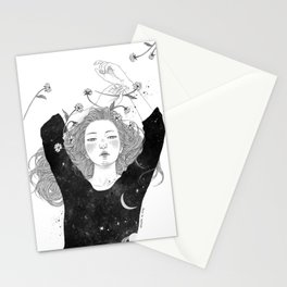 The night sky girl Stationery Cards