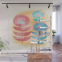 Three Flowers in Retro Style Wall Mural