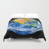 earth Duvet Covers featuring Earth by Head Rubble