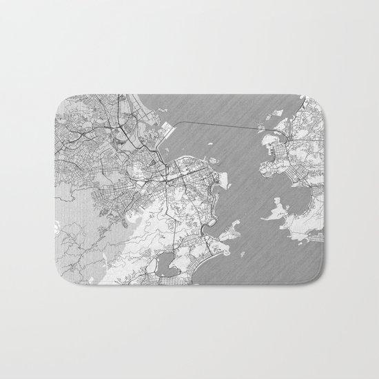 Rio de Janerio Map Line Bath Mat