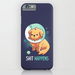 Shit Happens // Golden Retriever, Dogs, Cone of Shame iPhone Case